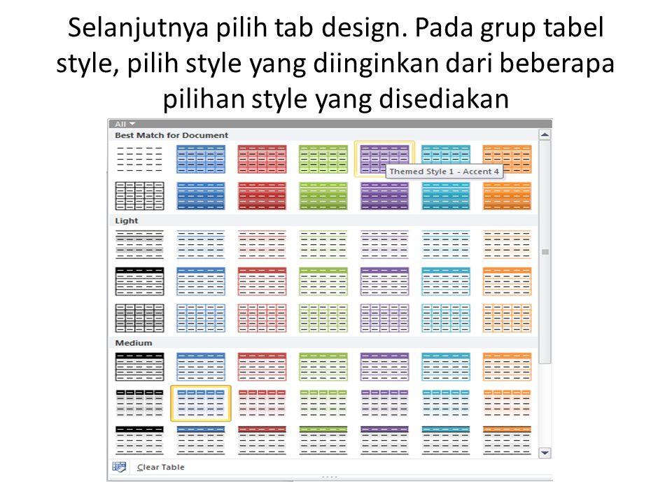 Dalam style gallery, arahkan mouse pada style yang anda inginkan maka secara otomatis style tabel akan berubah.