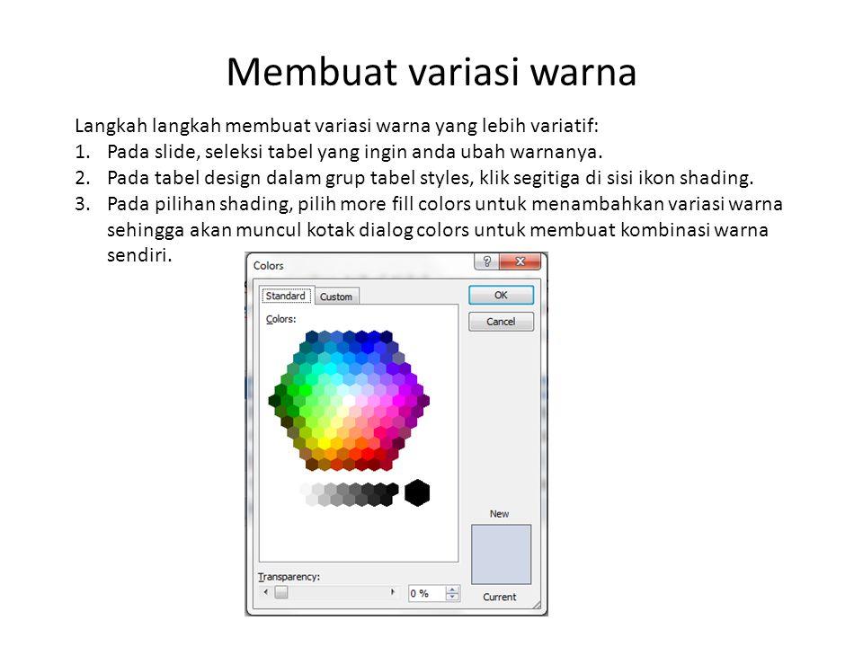 Membuat variasi warna Langkah langkah membuat variasi warna yang lebih variatif: 1.Pada slide, seleksi tabel yang ingin anda ubah warnanya.