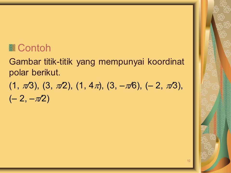 Contoh Gambar titik-titik yang mempunyai koordinat polar berikut. (1,  /3), (3,  /2), (1, 4  ), (3, –  /6), (– 2,  /3), (– 2, –  /2) 10