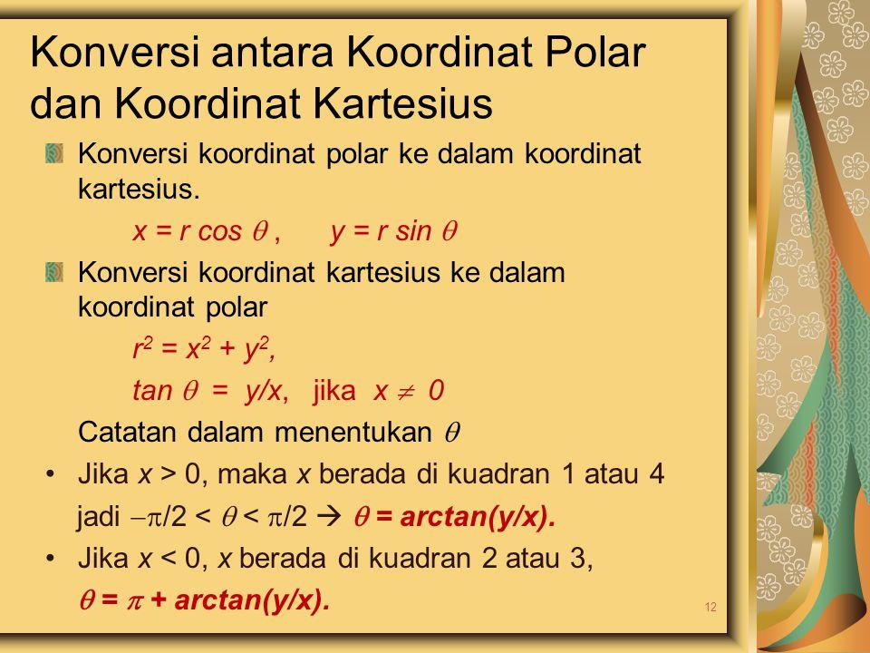 Konversi koordinat polar ke dalam koordinat kartesius. x = r cos , y = r sin  Konversi koordinat kartesius ke dalam koordinat polar r 2 = x 2 + y 2,
