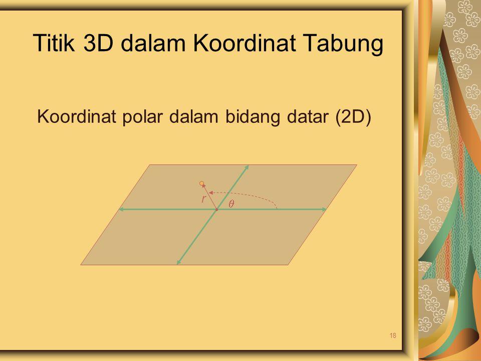 Titik 3D dalam Koordinat Tabung  r Koordinat polar dalam bidang datar (2D) 18