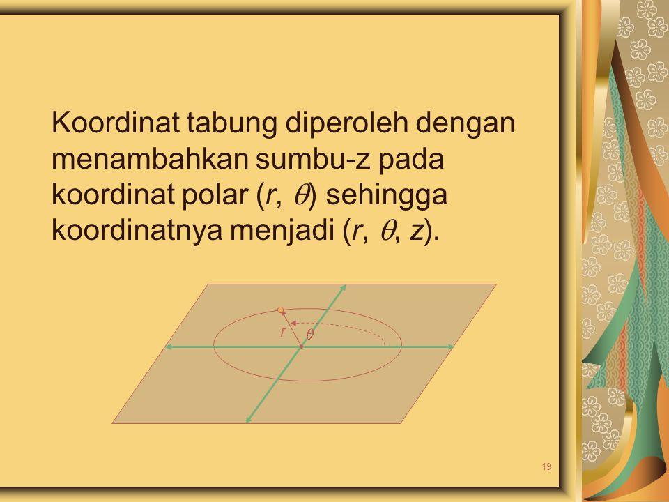 Koordinat tabung diperoleh dengan menambahkan sumbu-z pada koordinat polar (r,  ) sehingga koordinatnya menjadi (r, , z).  r 19