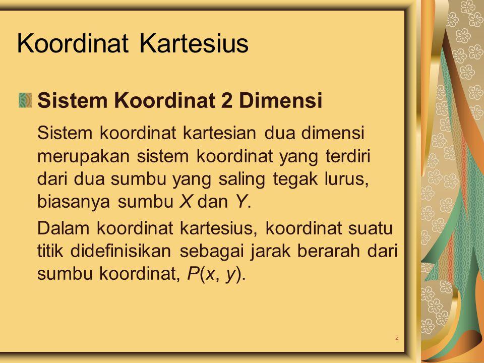 Koordinat Kartesius Sistem Koordinat 2 Dimensi Sistem koordinat kartesian dua dimensi merupakan sistem koordinat yang terdiri dari dua sumbu yang sali
