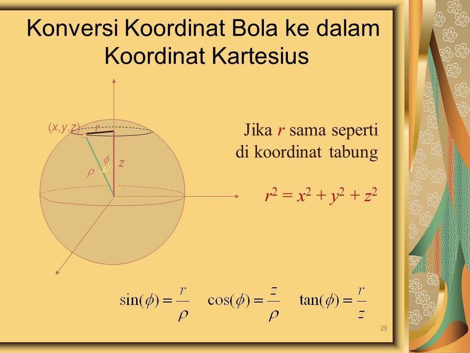 Konversi Koordinat Bola ke dalam Koordinat Kartesius  (x,y,z)(x,y,z) z  r Jika r sama seperti di koordinat tabung r 2 = x 2 + y 2 + z 2 29