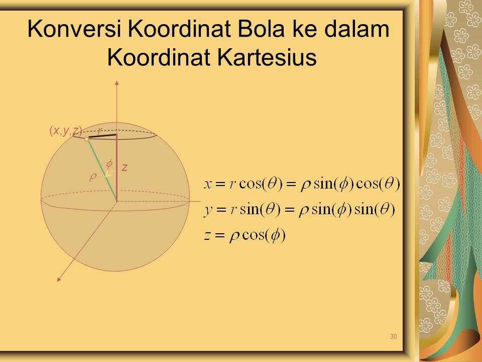 Konversi Koordinat Bola ke dalam Koordinat Kartesius  (x,y,z)(x,y,z) z  r 30