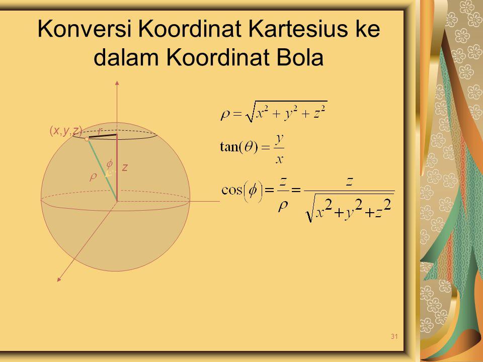 Konversi Koordinat Kartesius ke dalam Koordinat Bola  (x,y,z)(x,y,z) z  r 31