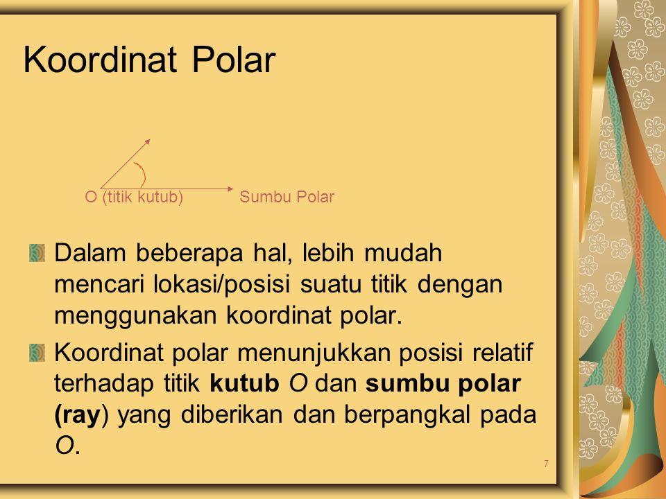Koordinat Polar O (titik kutub) Sumbu Polar Dalam beberapa hal, lebih mudah mencari lokasi/posisi suatu titik dengan menggunakan koordinat polar. Koor