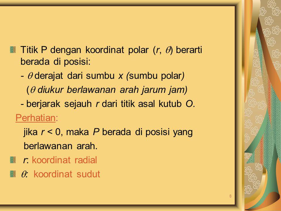 Titik P dengan koordinat polar (r,  ) berarti berada di posisi: -  derajat dari sumbu x (sumbu polar) (  diukur berlawanan arah jarum jam) - berjar