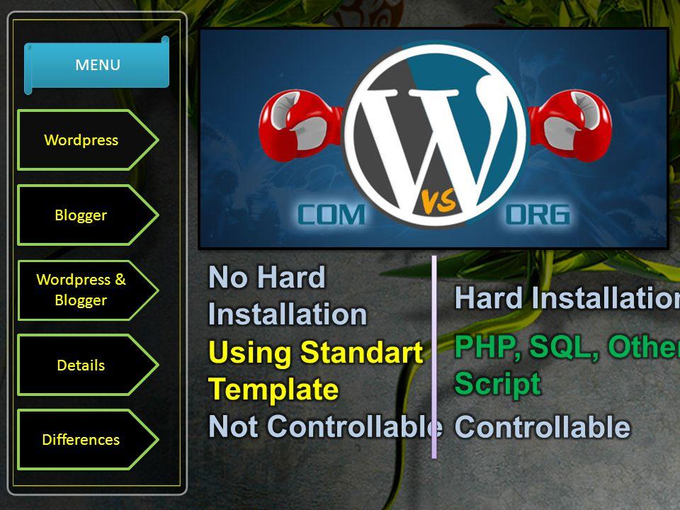 Free Open Source Easy Great Template MultiUser Wordpress Blogger Wordpress & Blogger Details Differences MENU