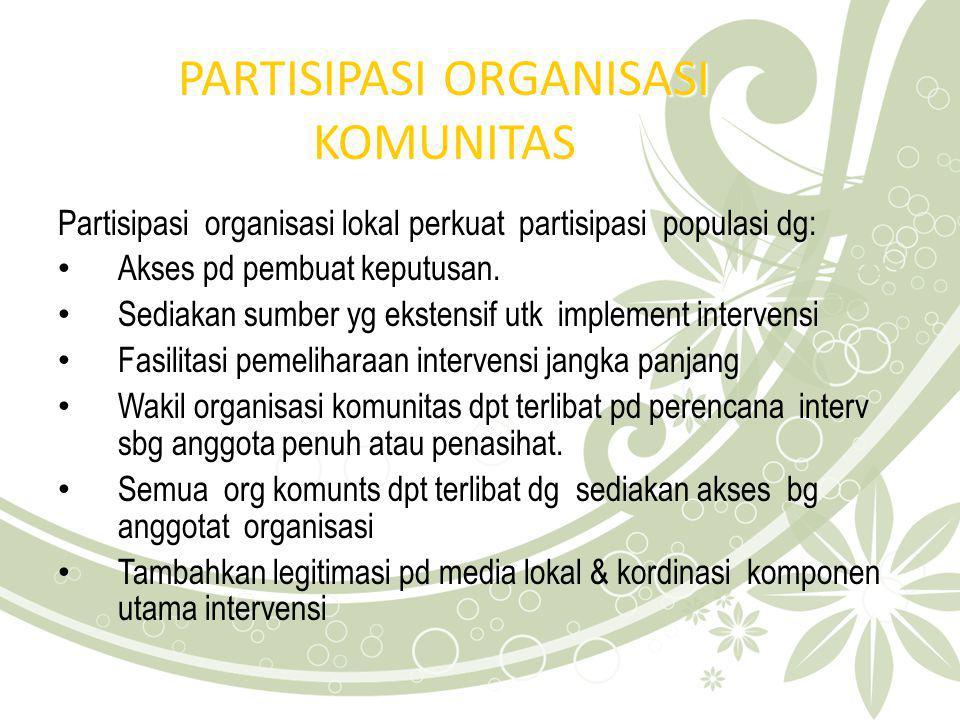 PARTISIPASI ORGANISASI KOMUNITAS Partisipasi organisasi lokal perkuat partisipasi populasi dg: Akses pd pembuat keputusan. Sediakan sumber yg ekstensi