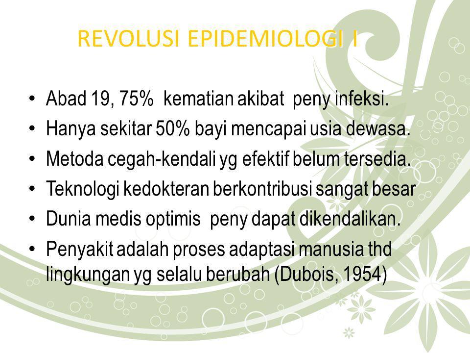 UPAYA KESEHATAN PD REVOLUSI EPID I Perbaikan standar kehidupan Pengendalian agen & vektor Pendidikan Kesmas Upaya kesmas (deteksi & isolasi kasus) Vaksinasi berikan kekebalan tubuh Antibiotik turunkan resorvoar penyakit