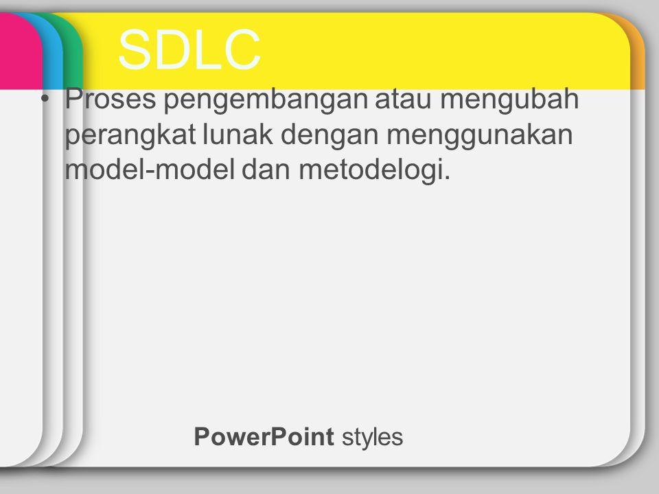SDLC PowerPoint styles Proses pengembangan atau mengubah perangkat lunak dengan menggunakan model-model dan metodelogi.