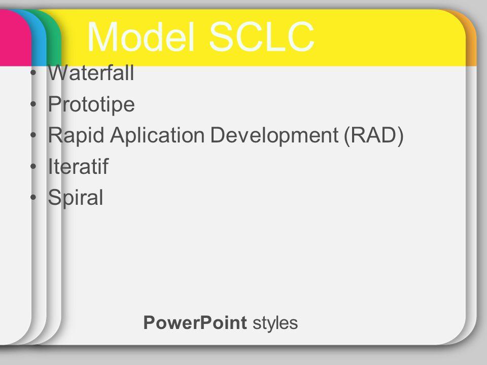 Waterfall Analisis kebutuhan PL Desain Coding Pengujian Model Waterfall adalah model SDLC paling sederhana, cocok untuk pengembangan PL dengan spesifikasi yang tidak berubah-ubah