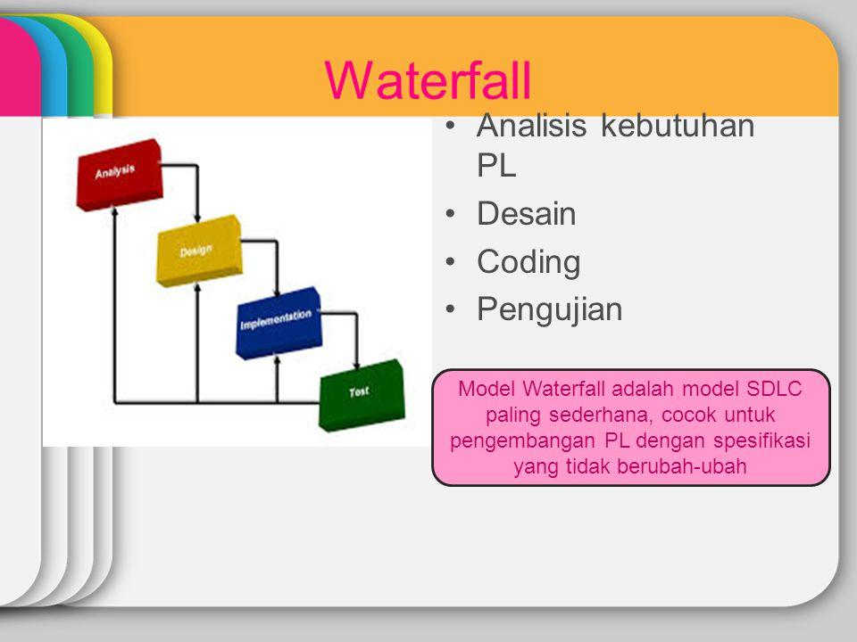 Waterfall Analisis kebutuhan PL Desain Coding Pengujian Model Waterfall adalah model SDLC paling sederhana, cocok untuk pengembangan PL dengan spesifi