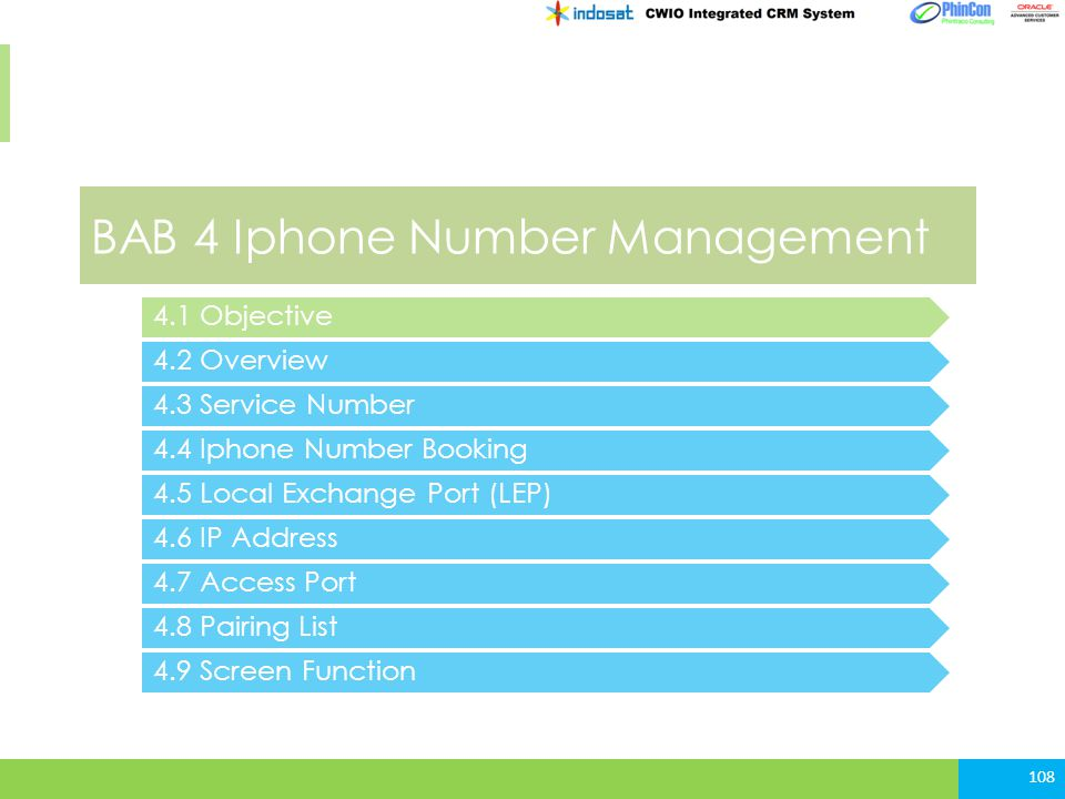 BAB 4 Iphone Number Management 4.2 Overview 4.3 Service Number 4.4 Iphone Number Booking 108 4.1 Objective 4.5 Local Exchange Port (LEP) 4.6 IP Addres
