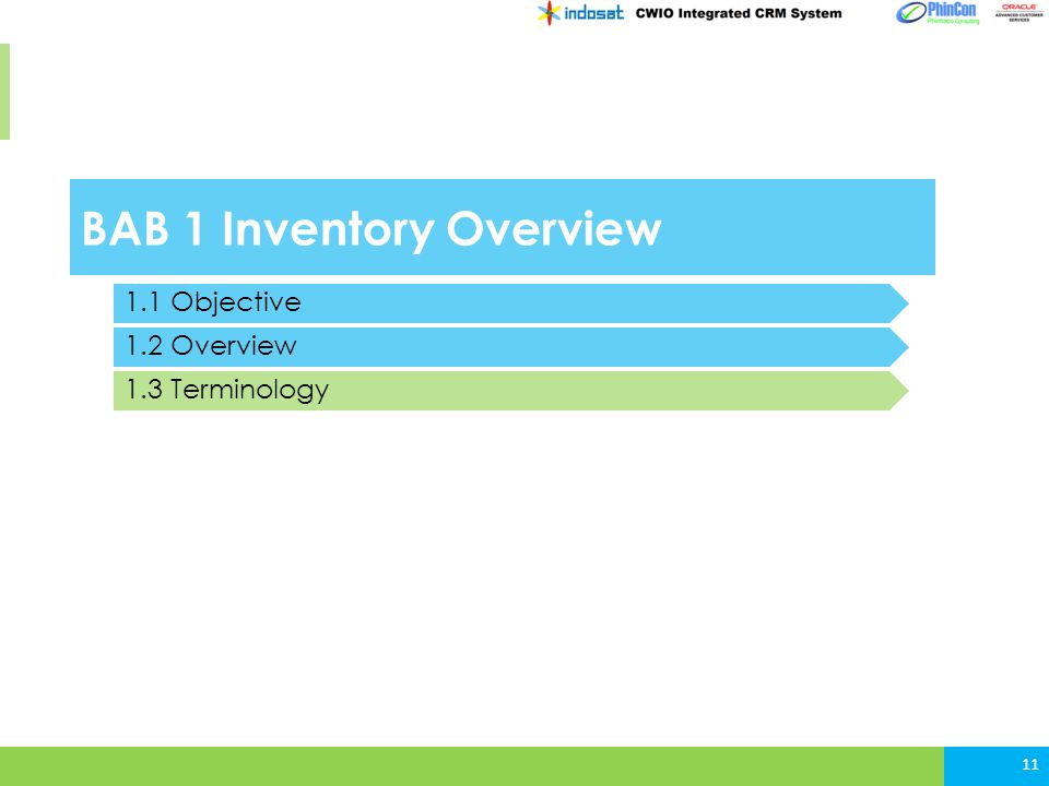 BAB 1 Inventory Overview 11 1.1 Objective 1.2 Overview 1.3 Terminology