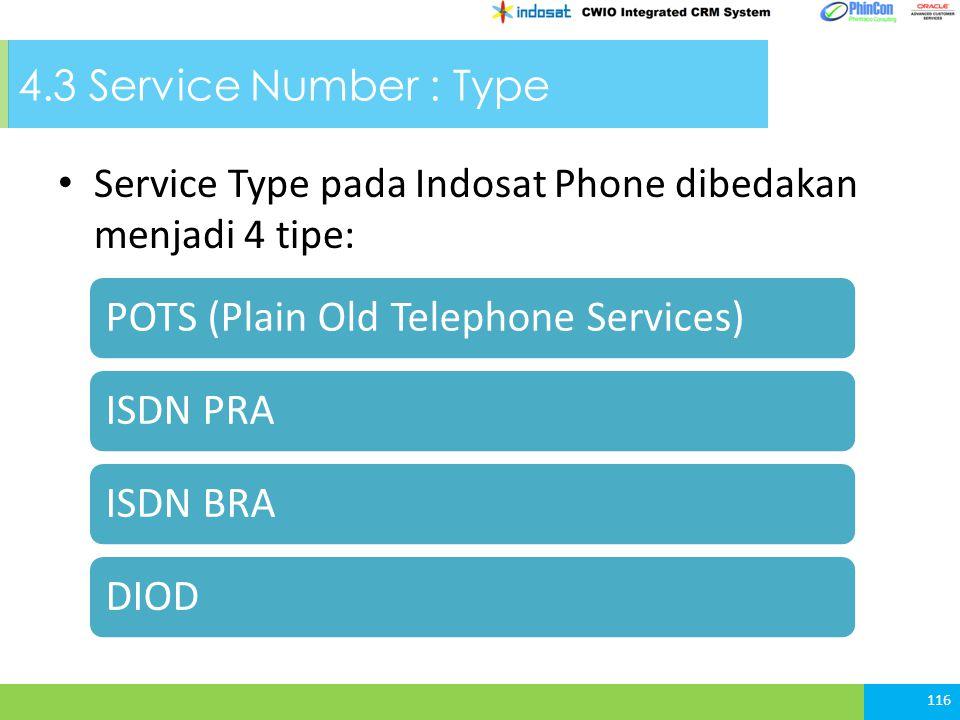 4.3 Service Number : Type Service Type pada Indosat Phone dibedakan menjadi 4 tipe: 116