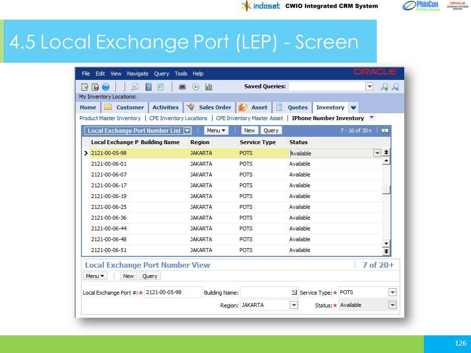 4.5 Local Exchange Port (LEP) - Screen 126