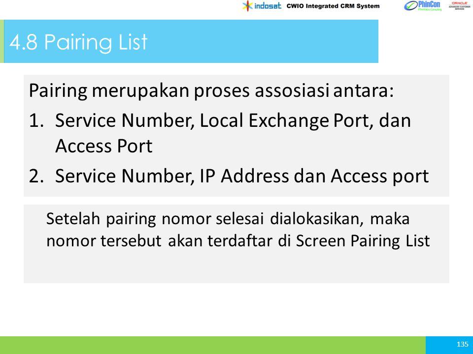 4.8 Pairing List Pairing merupakan proses assosiasi antara: 1.Service Number, Local Exchange Port, dan Access Port 2.Service Number, IP Address dan Ac