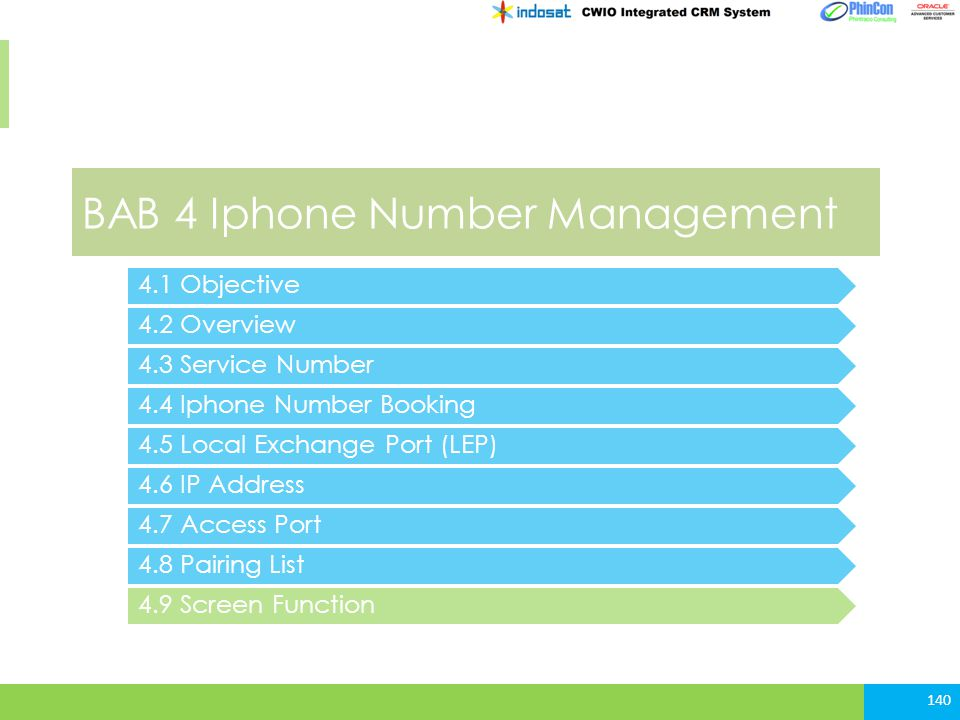 BAB 4 Iphone Number Management 4.2 Overview 4.3 Service Number 4.4 Iphone Number Booking 140 4.1 Objective 4.5 Local Exchange Port (LEP) 4.6 IP Addres