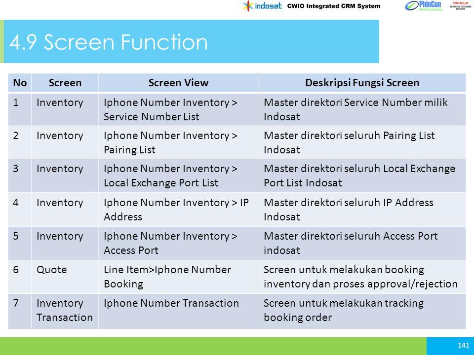 NoScreenScreen ViewDeskripsi Fungsi Screen 1InventoryIphone Number Inventory > Service Number List Master direktori Service Number milik Indosat 2Inve