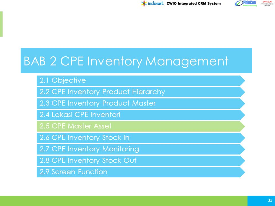 BAB 2 CPE Inventory Management 2.2 CPE Inventory Product Hierarchy 2.3 CPE Inventory Product Master 2.4 Lokasi CPE Inventori 33 2.5 CPE Master Asset 2.6 CPE Inventory Stock In 2.1 Objective 2.7 CPE Inventory Monitoring 2.8 CPE Inventory Stock Out 2.9 Screen Function