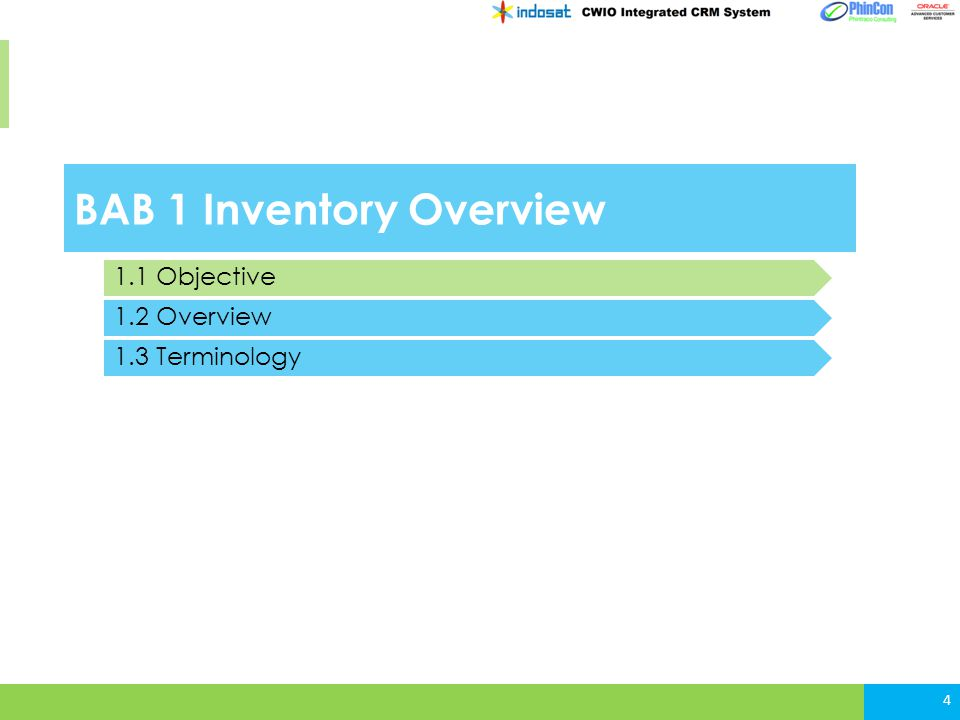 BAB 1 Inventory Overview 4 1.1 Objective 1.2 Overview 1.3 Terminology