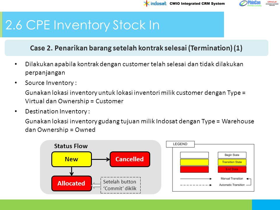 2.6 CPE Inventory Stock In Case 2. Penarikan barang setelah kontrak selesai (Termination) (1) NewCancelled Allocated Status Flow Setelah button 'Commi
