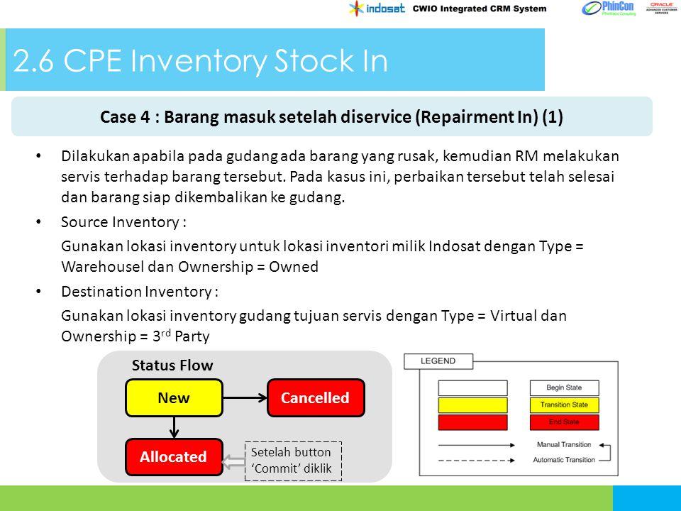 2.6 CPE Inventory Stock In Case 4 : Barang masuk setelah diservice (Repairment In) (1) NewCancelled Allocated Status Flow Setelah button 'Commit' diklik Dilakukan apabila pada gudang ada barang yang rusak, kemudian RM melakukan servis terhadap barang tersebut.