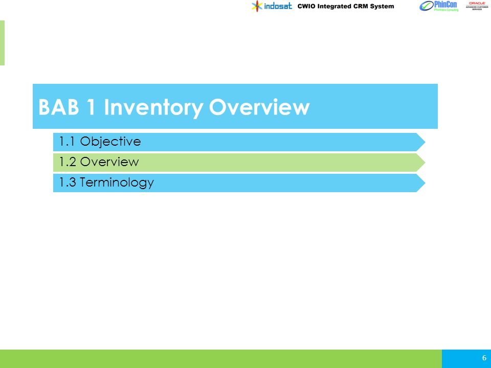 BAB 1 Inventory Overview 6 1.1 Objective 1.2 Overview 1.3 Terminology