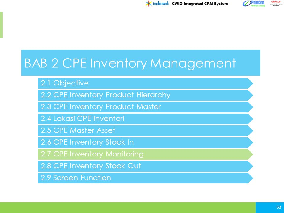 BAB 2 CPE Inventory Management 2.2 CPE Inventory Product Hierarchy 2.3 CPE Inventory Product Master 2.4 Lokasi CPE Inventori 63 2.5 CPE Master Asset 2