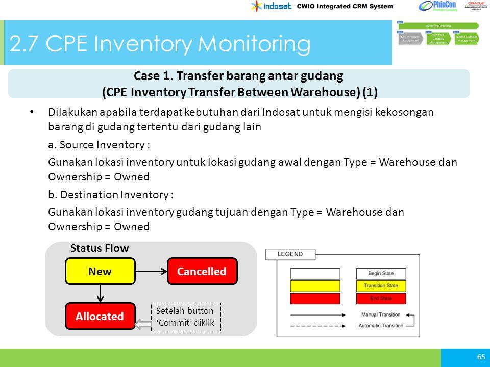 2.7 CPE Inventory Monitoring Dilakukan apabila terdapat kebutuhan dari Indosat untuk mengisi kekosongan barang di gudang tertentu dari gudang lain a.