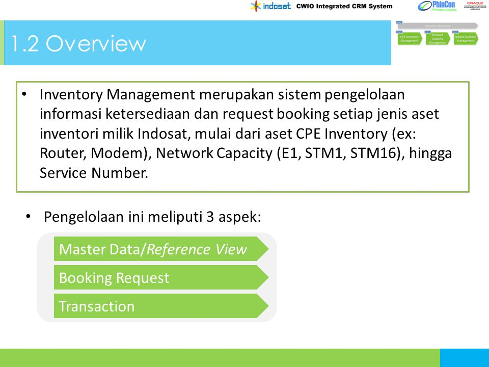 1.2 Overview Inventory Management merupakan sistem pengelolaan informasi ketersediaan dan request booking setiap jenis aset inventori milik Indosat, mulai dari aset CPE Inventory (ex: Router, Modem), Network Capacity (E1, STM1, STM16), hingga Service Number.