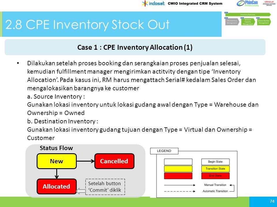 2.8 CPE Inventory Stock Out Dilakukan setelah proses booking dan serangkaian proses penjualan selesai, kemudian fulfillment manager mengirimkan actitvity dengan tipe 'Inventory Allocation'.