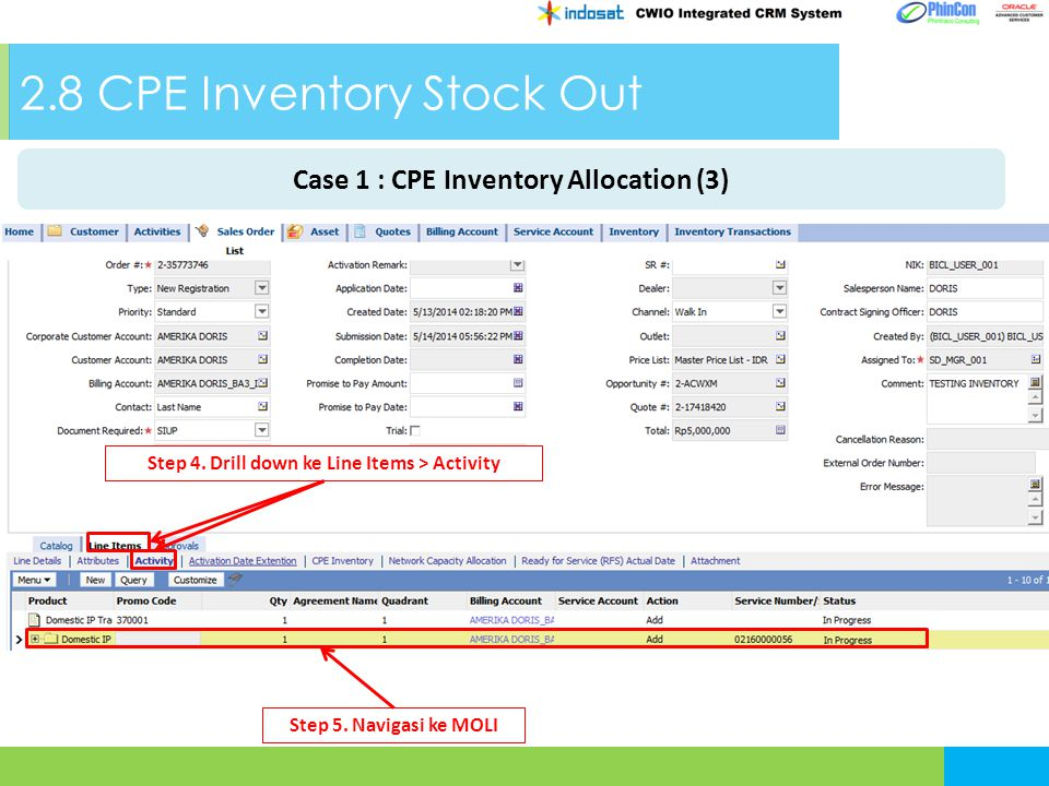 2.8 CPE Inventory Stock Out Step 4. Drill down ke Line Items > Activity Step 5. Navigasi ke MOLI Case 1 : CPE Inventory Allocation (3)