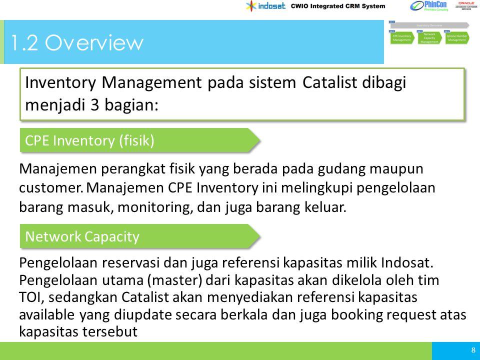 1.2 Overview 8 Inventory Management pada sistem Catalist dibagi menjadi 3 bagian: 8 CPE Inventory (fisik) Network Capacity Manajemen perangkat fisik yang berada pada gudang maupun customer.