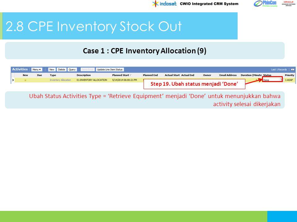 2.8 CPE Inventory Stock Out Ubah Status Activities Type = 'Retrieve Equipment' menjadi 'Done' untuk menunjukkan bahwa activity selesai dikerjakan Step 19.