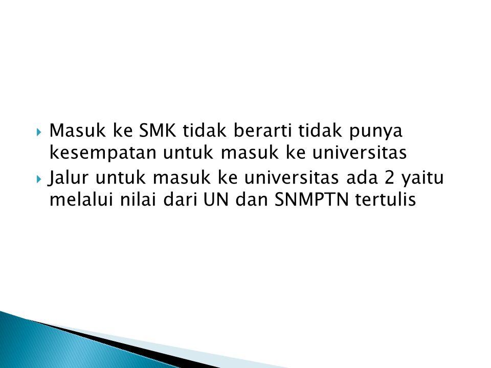  Masuk ke SMK tidak berarti tidak punya kesempatan untuk masuk ke universitas  Jalur untuk masuk ke universitas ada 2 yaitu melalui nilai dari UN dan SNMPTN tertulis