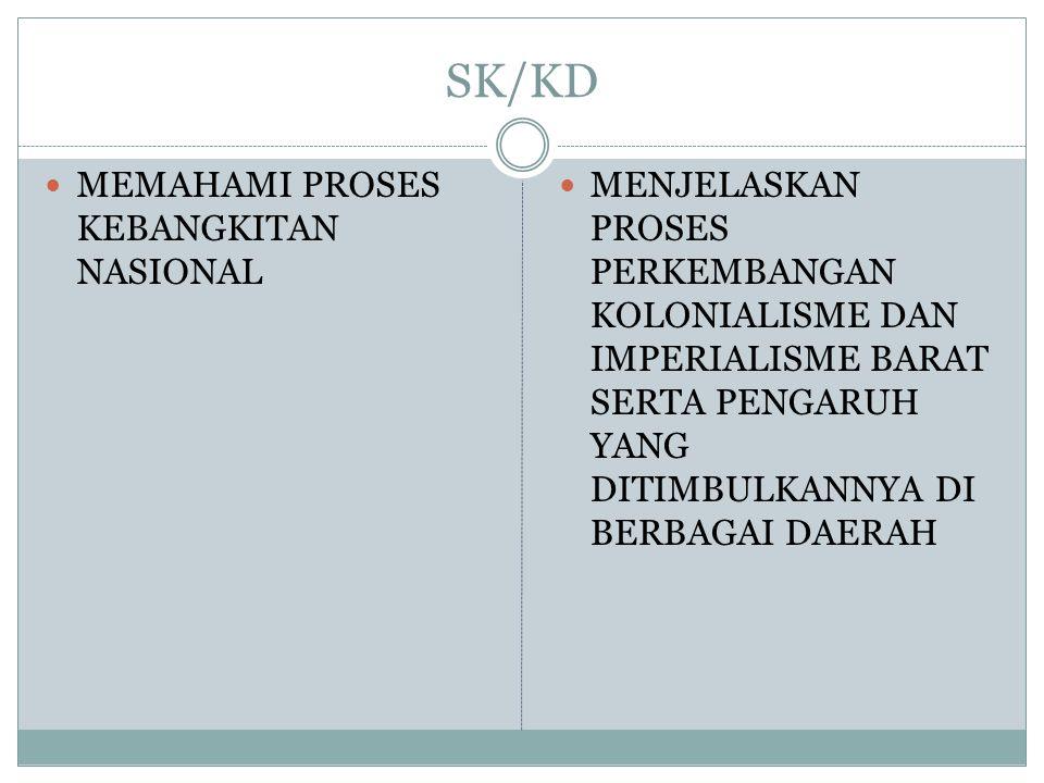 SK/KD MEMAHAMI PROSES KEBANGKITAN NASIONAL MENJELASKAN PROSES PERKEMBANGAN KOLONIALISME DAN IMPERIALISME BARAT SERTA PENGARUH YANG DITIMBULKANNYA DI B