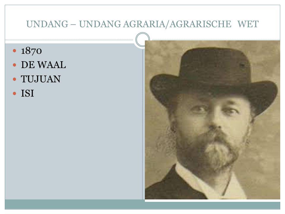 UNDANG – UNDANG AGRARIA/AGRARISCHE WET 1870 DE WAAL TUJUAN ISI