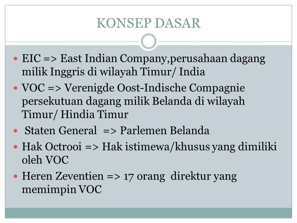 KONSEP DASAR EIC => East Indian Company,perusahaan dagang milik Inggris di wilayah Timur/ India VOC => Verenigde Oost-Indische Compagnie persekutuan d