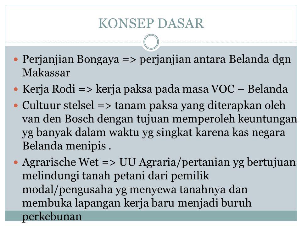 KONSEP DASAR Perjanjian Bongaya => perjanjian antara Belanda dgn Makassar Kerja Rodi => kerja paksa pada masa VOC – Belanda Cultuur stelsel => tanam p