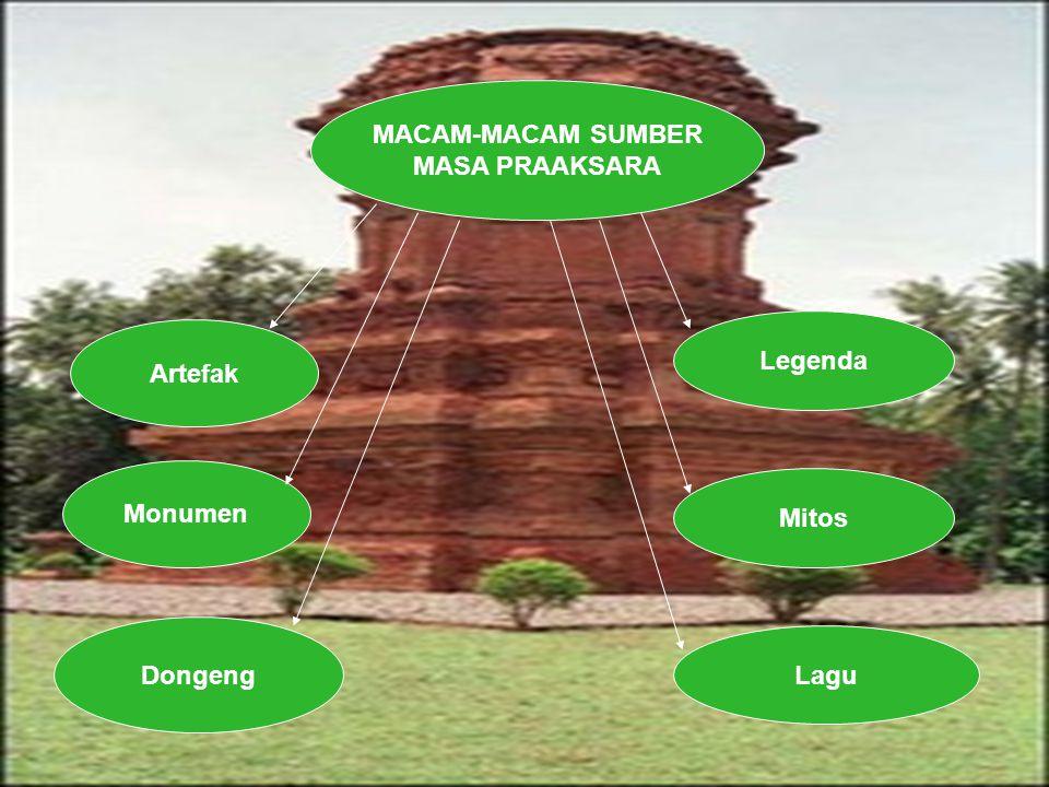 MACAM-MACAM SUMBER MASA PRAAKSARA Artefak Monumen Dongeng Legenda Mitos Lagu