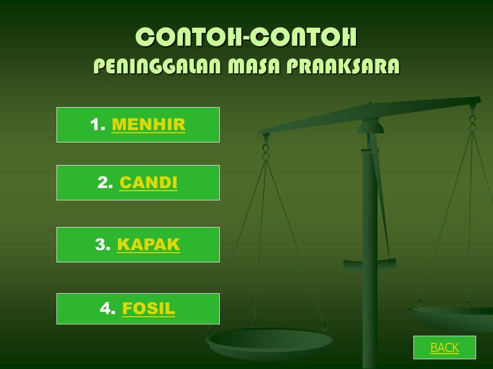 CONTOH-CONTOH PENINGGALAN MASA PRAAKSARA 1. MENHIR 2. CANDICANDI 3. KAPAKKAPAK 4. FOSILFOSIL BACK