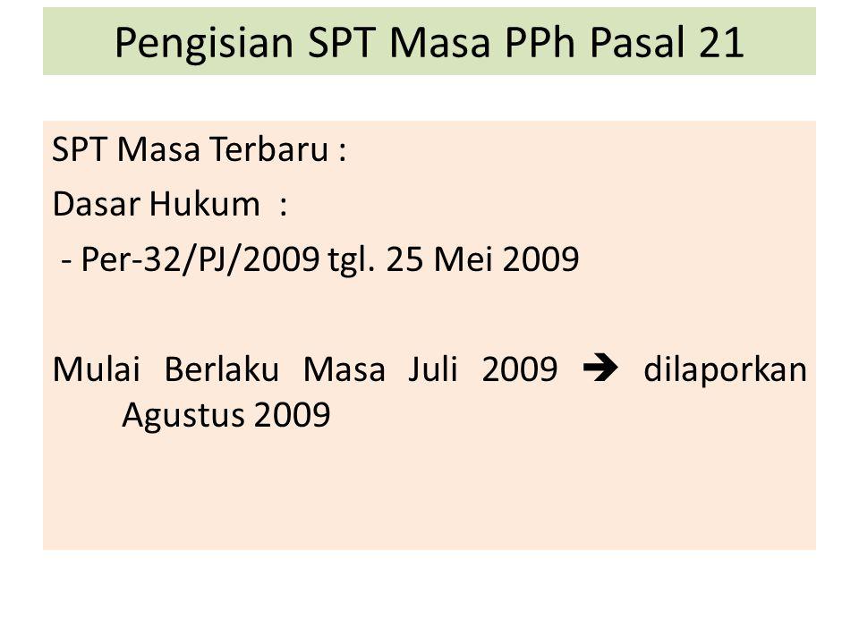 Pengisian SPT Masa PPh Pasal 21 SPT Masa Terbaru : Dasar Hukum : - Per-32/PJ/2009 tgl. 25 Mei 2009 Mulai Berlaku Masa Juli 2009  dilaporkan Agustus 2