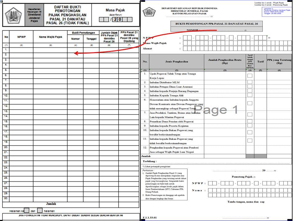 Formulir tambahan (Jika ada pegawai tidak tetap) 3. Bukti pemotongan PPh Tidak Final : 4. Daftar (rekap) bukti pemotongan  Dibuat apabila terdapat pe