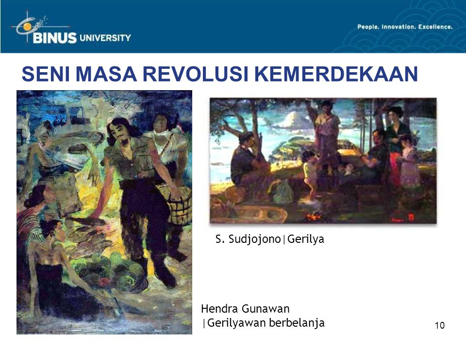 10 SENI MASA REVOLUSI KEMERDEKAAN Hendra Gunawan |Gerilyawan berbelanja S. Sudjojono|Gerilya