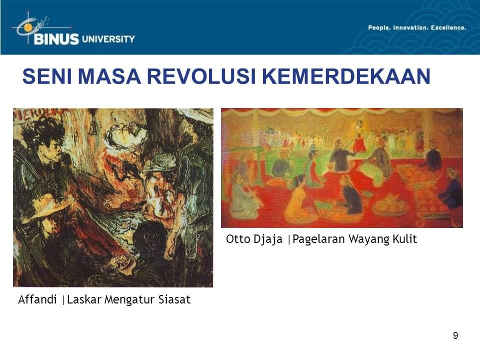 20 PERKEMBANGAN SENI PASCA KEMERDEKAAN Jabatan Soekarno sebagai Presiden digantikan oleh Soeharto, yang memulai Orde Baru.