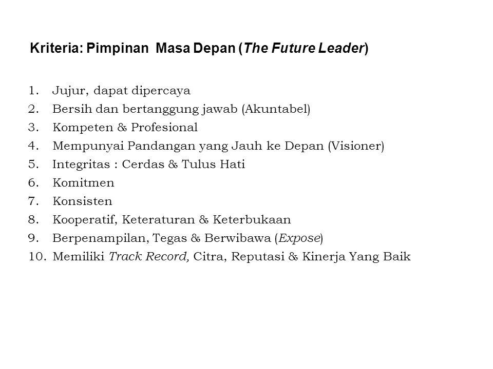 1.Jujur, dapat dipercaya 2.Bersih dan bertanggung jawab (Akuntabel) 3.Kompeten & Profesional 4.Mempunyai Pandangan yang Jauh ke Depan (Visioner) 5.Int