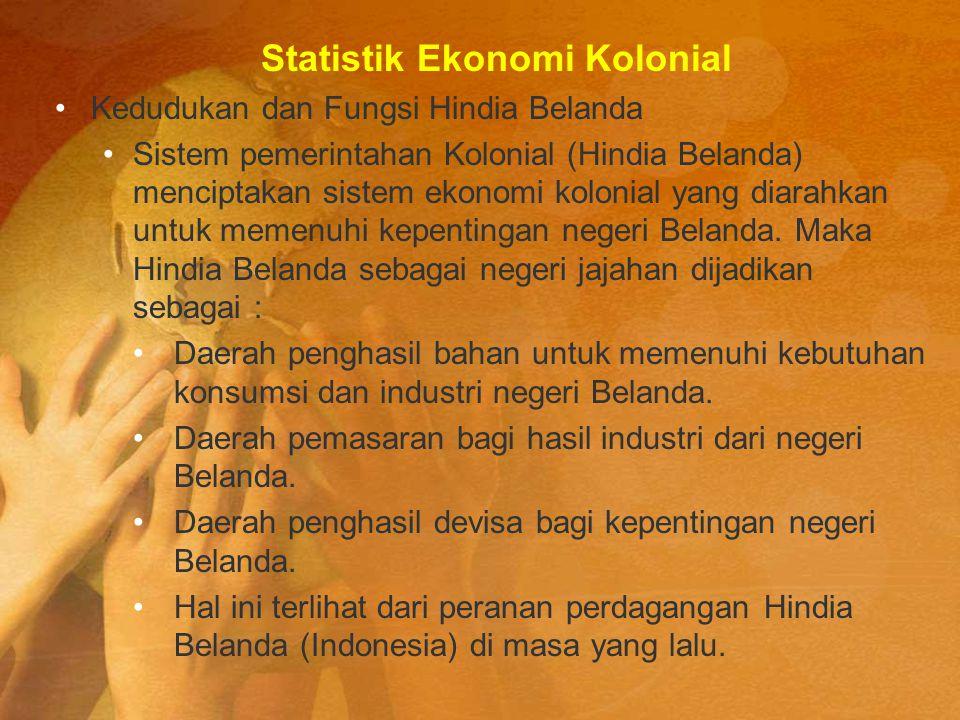 Statistik Ekonomi Kolonial Kedudukan dan Fungsi Hindia Belanda Sistem pemerintahan Kolonial (Hindia Belanda) menciptakan sistem ekonomi kolonial yang